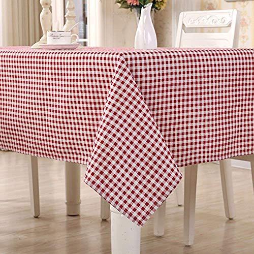 HomeT - Mantel de algodón y lino, estampado geométrico, a cuadros, rojo y blanco, color granate, para mesa de forma rectangular, Lino algodón, Rojo, 140x180cm