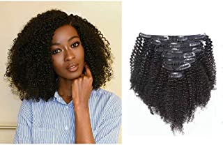 Caliee Double Weft Top Grade Big Thick Afro Kinky Curly 3C 4A Clip in Extensions for African American Black Women, Real Remy Human Natural Black Hair, 120 Gram, 10 Inch/7 Pcs