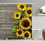 Manerly Duschvorhang mit grauer Holzmaserung, Sonnenblumen-Hintergr&, wasserdichter Polyester-Stoff, Badezimmer-Dekor mit Haken, 183 x 183 cm