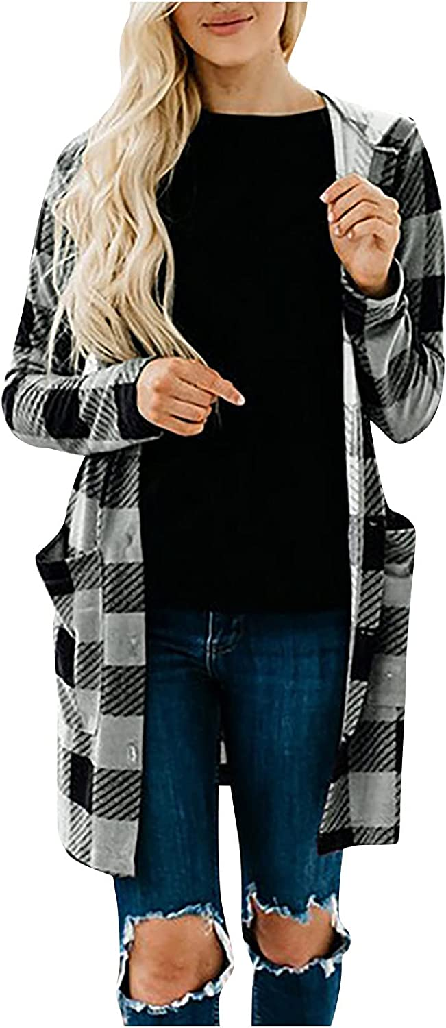 Casual Cardigan for Women Fashion Lattice Printing Hooded Outerwear Long Sleeve Pocket Cardigan Coat Tops