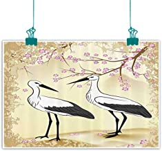 funkky Animal Wall Art Decor Poster Painting Two Storks Looking at Each Other Cherry Blossoms and Branches Pattern Print Decorations Home Decor 35