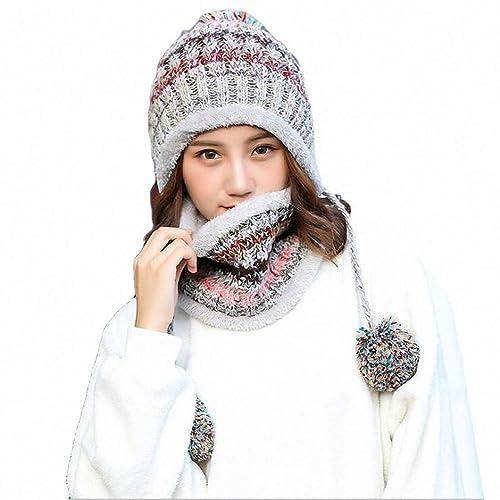 f94652e85ee Women Knitted Hat Scarf Set Girls Women Gift Winter Warm Thicken Crochet  Bobble Pom Pom Beanie