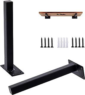 YJJT Drijvende plankbeugels industrieel zwart 20cm 40cm - 90 graden metalen hoekbeugel rekken beugels - 2 stuks wandgemont...