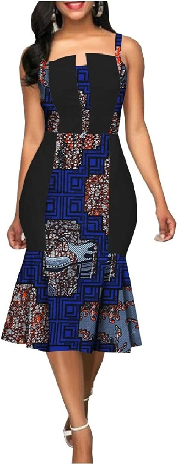 Winme Women African Wax Fabric PlusSize Summer Camisole Mermaid Dresses