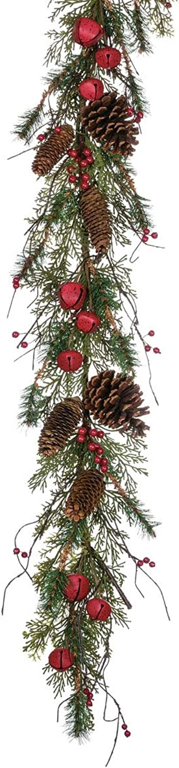 Sullivans Christmas Greenery Garland, Pine Cone, Jingle Bell, and Red Berry, 5' x 10 , Green (GD1263)