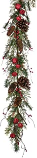 Sullivans Christmas Greenery Garland, Pine Cone, Jingle Bell, and Red Berry, 5' x 10