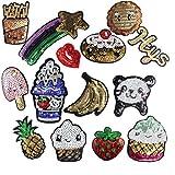 (Confezione da 15) gelato, patatine fritte banana fragola orso toppe ricamate da cucire o toppa termoadesiva