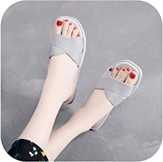 2019 New Sandals Women Bright Diamond Casual Outdoor Travel Flip Flop Beach Shoes Non Slip Durable Slippers