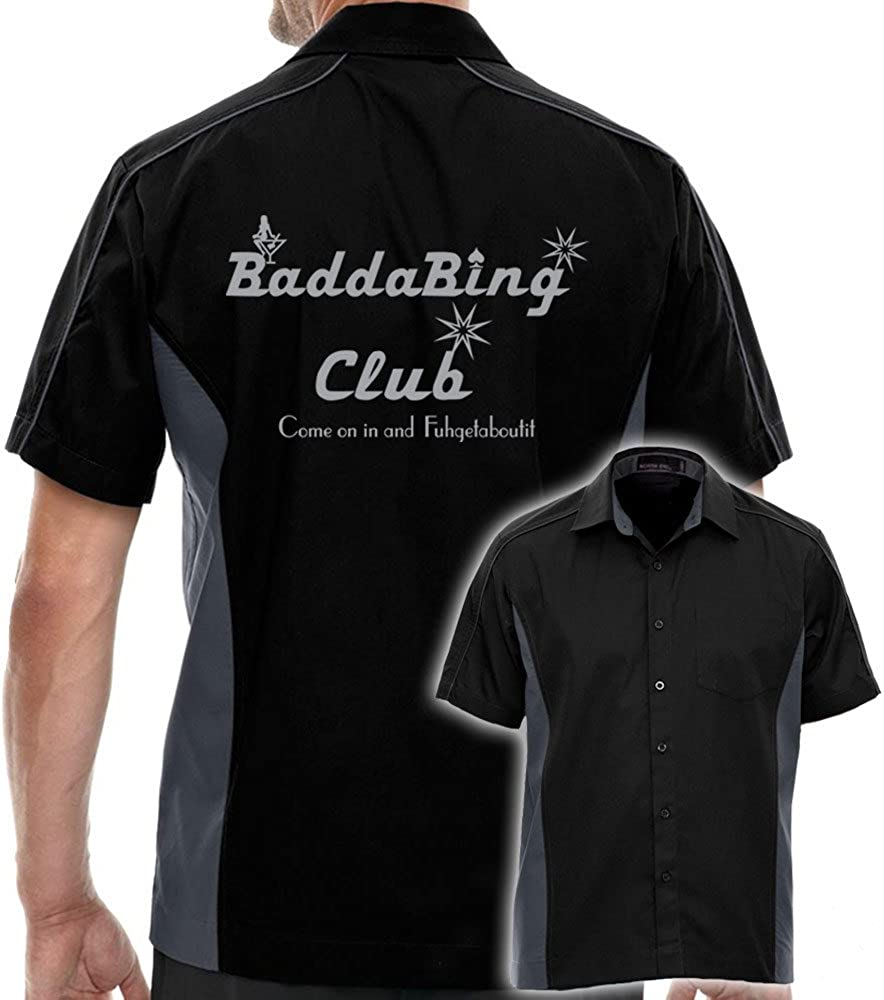 Badda Bing Club Stock Print Shirt on Bowling Muckler Black excellence Challenge the lowest price