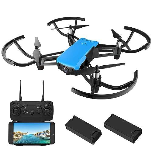Micro Racing Drone, REDPAWZ R020 HD 720P Caméra FPV Drone Quadricoptère avec Caméra 120° Grand, Retour d'une clé RTF Drone pour traverser+ 2pcs Batterie