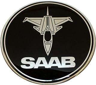 63,5 mm Jet Flugzeug SAB schwarz Chrom Motorhaube Haube Kofferraum Luke Abzeichen Emblem gewölbte 3D Aufkleber selbstklebende Rückseite 9 3
