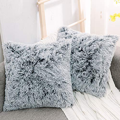 NordECO Luxury Soft Faux Fur Fleece Cushion Cover Pillowcase Decorative Throw Pillows Covers, No Pillow Insert, 18 x 18 Inch, 2 Pack (18x18, Black Ombre)