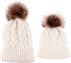 2PCS Parent-Child Hat,Mother & Daughter/Son Winter Warm Knit Hat Family Crochet Beanie Ski Cap