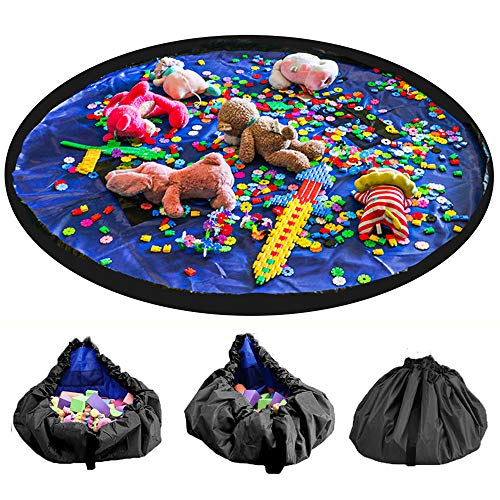 LandJoy Kinder Aufräumsack,Baby Spielzeug Aufbewahrung Spielmatte mit Tragegriff Spieldecke Speicher Tasche Kinderspielzeug Aufbewahrungsbeutel(150cm Dunkelblau)