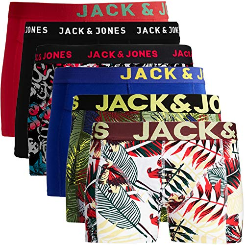 JACK & JONES Boxershorts 6er Pack Herren Trunks Shorts Baumwoll Mix Unterhose (XL - 6er, Mehrfarbig Bunt @2)