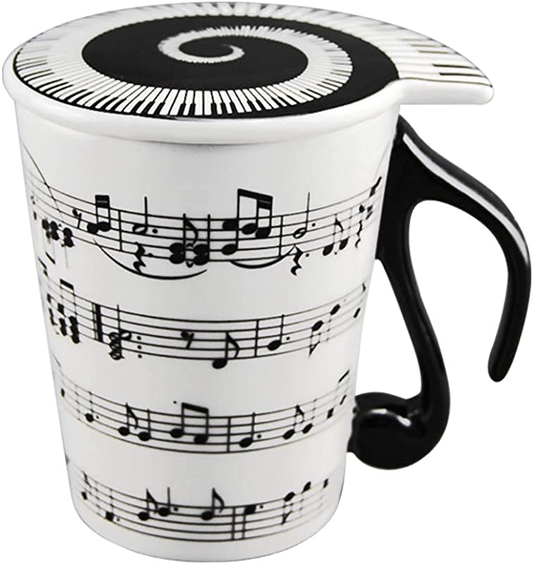 HLJgift Creative Ceramic Musician Coffee Mug Tea Cup With Lid Staves Music Notes As Valentine S Day Gift Teacher Gift