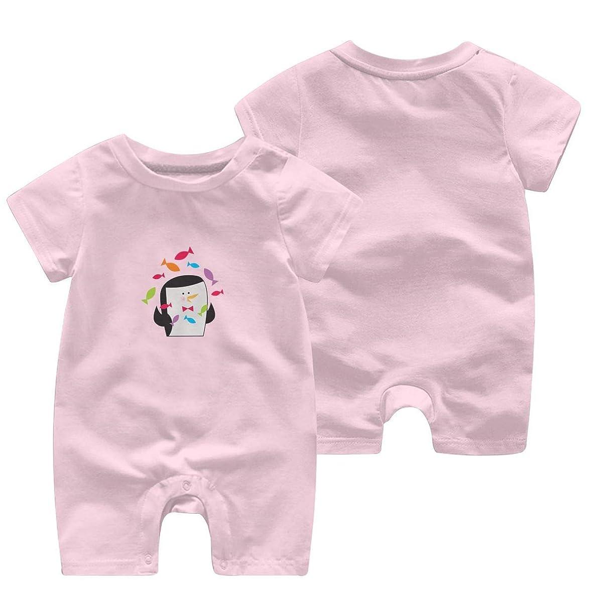 ミュージカルオーラル式かわいいペンギン ベビー服 肌着 新生児 ロンパース 夏 半袖 ジャンプスーツ ベビー 服 前開き 赤ちゃん ロンパースジャンプスーツ 男女兼用 Tシャツ 100%綿製 柔らかい (0-24m)