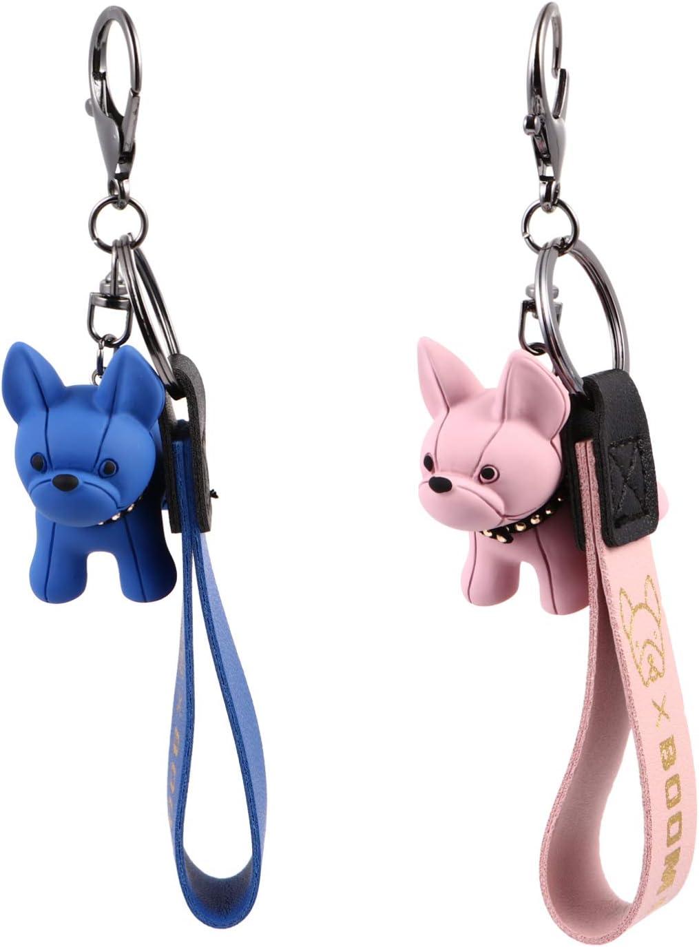 breloques Mini mignon sac /à dos bleu Style kawaii porte-cl/és portefeuille Amosfun Lot de 2 porte-cl/és bouledogue fran/çais Pour voiture
