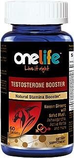 Onelife Testosterone Booster : (60 Tablets) | Korean Ginseng, L-arginine, Ashwagandha, Safed Musli, Mucuna Pruriens, Fenugreek Seed, Gokhru, Asparagus Racemosus and Zinc Oxide.
