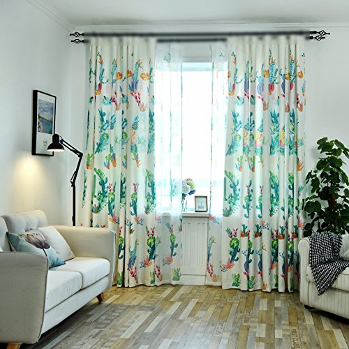 Living Room Curtains with Grommets Colorful Cactus Flower Design Semi Blackout Curtains Drapes for Kids Room Window Treatment Panels for Bedroom/French Door/Dining Room 1 Panel W39 x H63 Inch