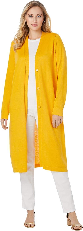Jessica London Women's Plus Size Fine Gauge Duster Cardigan Cardigan Sweater