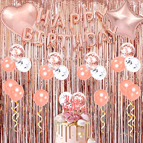 Rose Gold Happy Birthday Party Dekorationen - Folie Fransen Vorhänge, Happy Birthday Balloon Banner, Konfetti-Ballons, Cake Topper