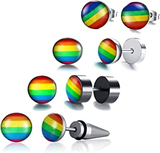 XUANPAI 3-4 Pcs Gay Pride LGBT Jewelry Stainless Steel Rainbow Stud Earrings for Gay & Lesbian