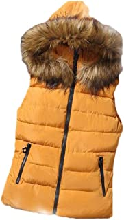 Macondoo Women Warm Puffer Hoodie Jacket Quilted Cotton-Padded Down Vest