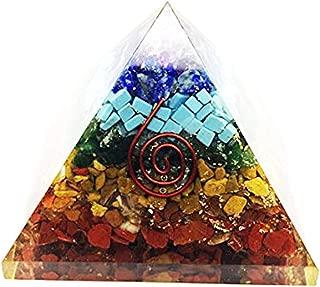 Crocon Seven Chakra Stone Orgone Pyramid for Feng Shui Chakra Balancing Crystal Energy Generator Reiki Healing Spiritual Meditation Home Office Decor Size: 2.5-3 Inch