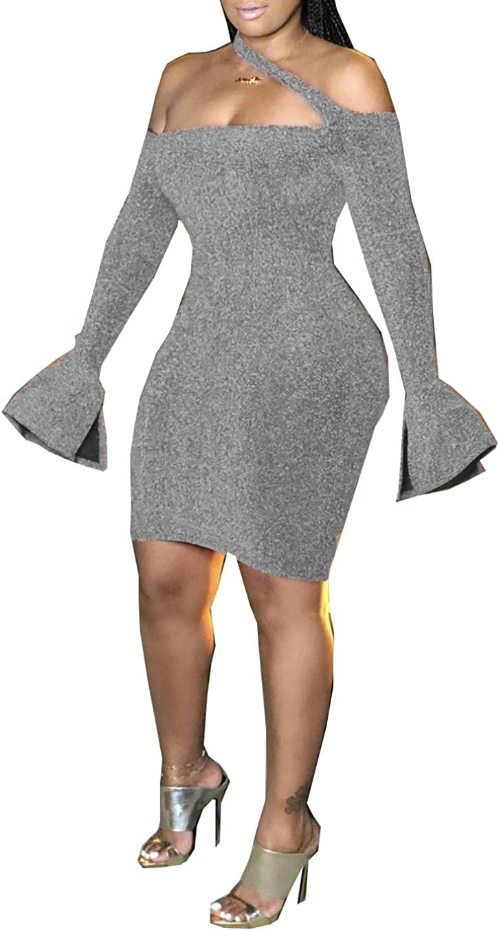 Remelon Womens Glitter Sequin Cut Out Off Shoulder Bell Long Sleeve Bodycon Club Party Short Mini Dress