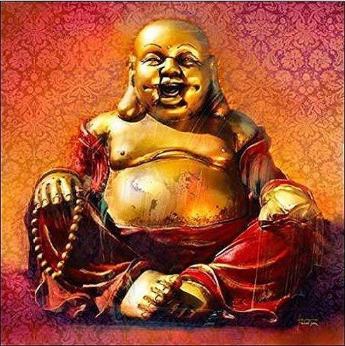 Rahmen-Kunst Keilrahmen-Bild - Michael Tarin: Buddha Lucky Leinwandbild Glück Zen Feng-Shui Asia-Style (80x80)