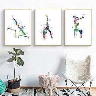 Tanyang Gymnastique Cadeau Gymnastique Balance Beam Sport Affiches et Impressions Aquarelle Toile Peinture Image Filles Ch...