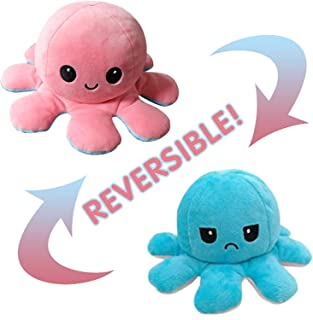Reversible Mood Soft Plush Toy, Flip Stuffed Animal Doll, Great for Kids and Adults (Pink and Blue)