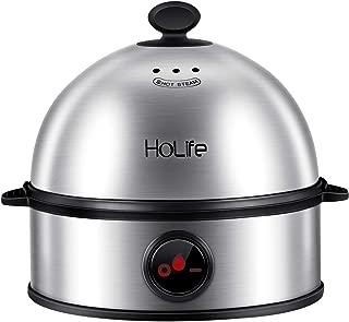 Egg Cooker, HoLife Stainless Steel Egg Boiler Steamer with Auto Shut off, 7 Egg Capacity for Soft, Medium, Hard Boiled Eggs, Omelettes-Silver