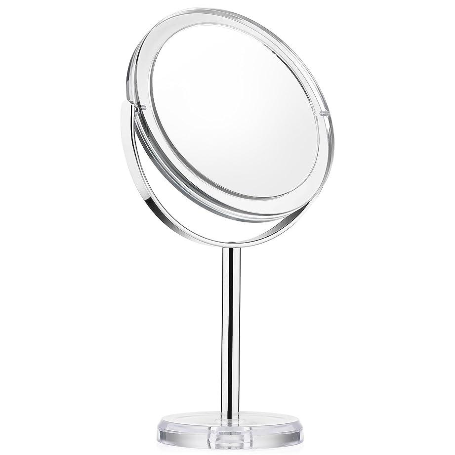 不注意水陸両用通知する化粧ミラー Beautifive 鏡 卓上 化粧鏡 メイクミラー 卓上ミラー スタンドミラー卓上 等倍卓上両面鏡 卓上鏡 7倍拡大スタンドミラー 360°回転可 光学レズン高解像度