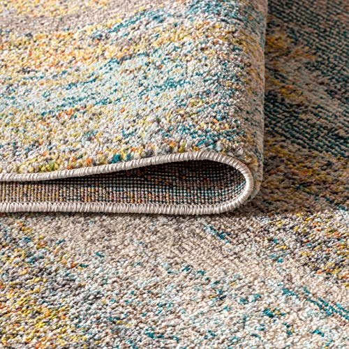 JONATHAN Y Contemporary POP Modern Abstract Vintage Waterfall Blue/Brown/Orange 8 ft. x 10 ft. Area Rug, Bohemian,EasyCleaning,ForBedroom,Kitchen,LivingRoom, Non Shedding