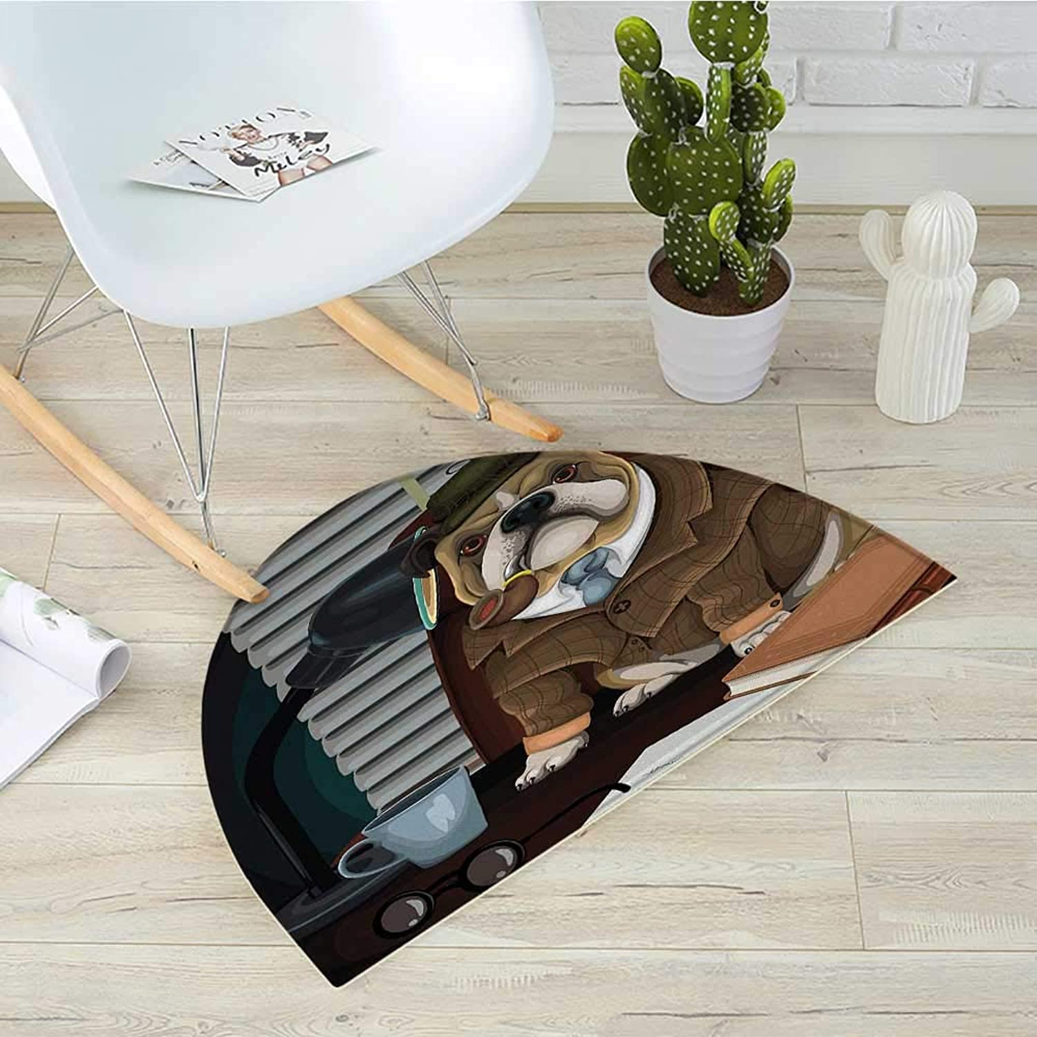 English Bulldog Semicircle Doormat Traditional English Detective Dog with a Pipe and Hat Sherlock Holmes Image Halfmoon doormats H 39.3  xD 59  Multicolor