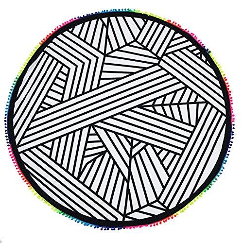 Zwarte en witte ronde badhanddoek met ophangbare bol, kwast, onregelmatige geometrische opdruk, strandhanddoek, boho, hippie, strand, mat, zomer, zigeuner, liefhebbers, strand, sjaal, picknick mat