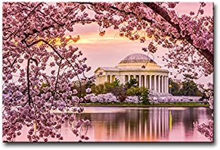 Wall Art Decor Poster Painting On Canvas Print Pictures Washington Dc At Tidal Basin Jefferson Memorial Cherry Blossom Spring Architecture Moument Framed Picture For Home Decoration Living Room Artwork