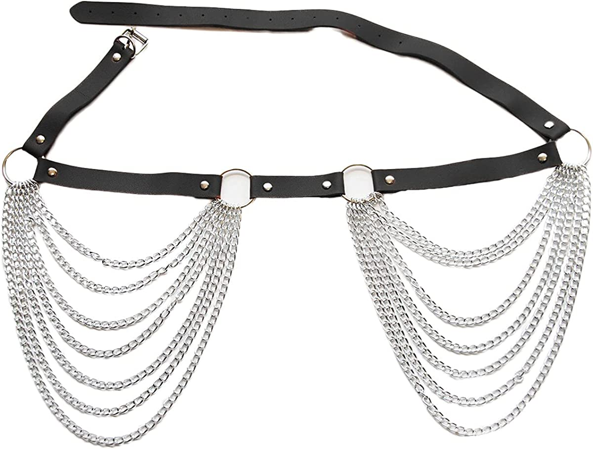 Sinkcangwu Leather Layered Waist Chain Sexy Fashion Belly Chain Punk Gothic Body Jewelry Belt Body Harness for Halloween Party