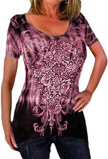 MK988 Womens Plus Size Short Sleeve Crewneck Baggy Floral Printed Top T-Shirt Blouse