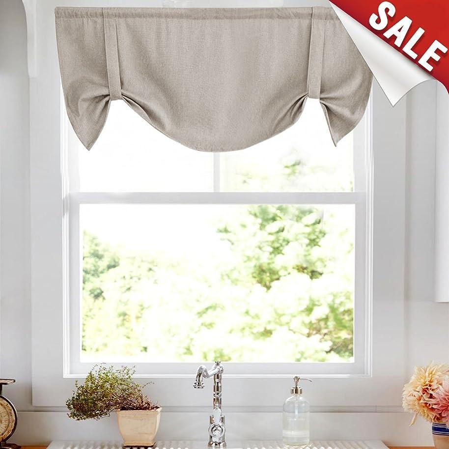 Tie-up Valances for Windows Linen Textured Room Darkening Adjustable Tie Up Shade Window Curtain Rod Pocket Tie-up Valance Curtains 20 Inches Long (1 Panel, Greyish Beige)