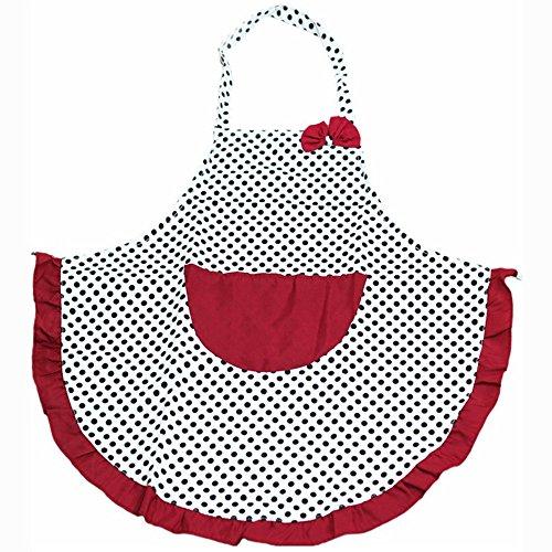 Sukisuki - Delantal para mujer con bolsillo para cocina, diseño de lunares