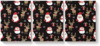 3 Piece Canvas Wall Art Oil Painting Home Art Decor,Lovely Santa Claus Deer Christmas Printed Pictures Artworks for Office,Stretched by Wooden Frame,Ready to Hang,12x16inx3 Panels