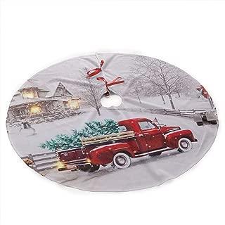 NOALKJ Personalized Custom Christmas Tree Skirt-Merry-Christmas-Truck Christmas Tree Skirt Holiday Decorations,35.5 Inch