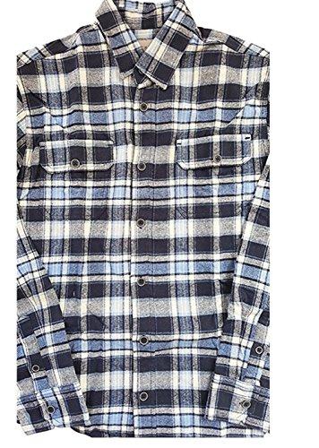 ジャックスメンズブラウニーロングスリーブフランネルシャツ(ラージ、ブルーネイビーホワイト)