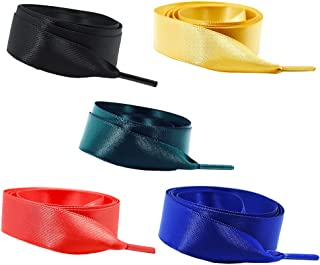 Daimay Silk Ribbon Shoelaces Fashion Sneakers Shoe Laces Flat Shoestring Lace Satin Ribbon for DIY Shoes Decoration 5 Pair of 1.2M - Green/Blue/Red/Black/Yellow