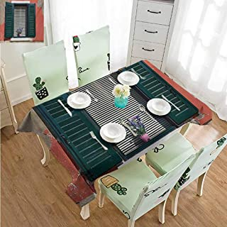 SLLART Patio Rectangle Tablecloth Wrinkle Free Tablecloths Country,Old Italian Stone House with Medieval Style Shutters and Colorful Flowers Image,Red Green Grey W54 xL90,for Cards