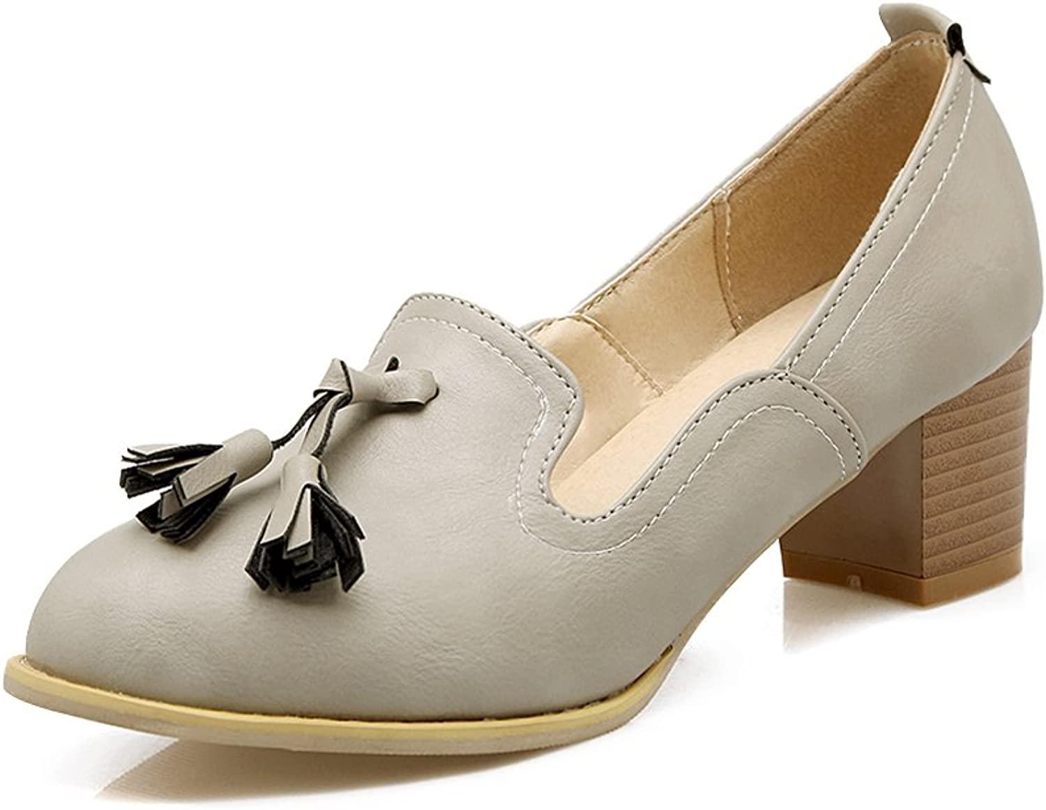 Lucksender Womens Chunky Mid Heel Pumps shoes with Tassel