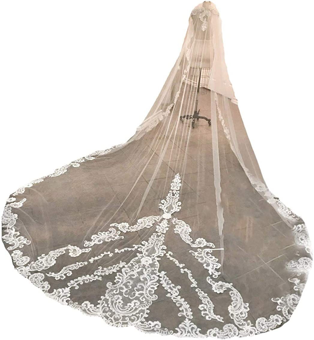 Fenghuavip Women's 1T Crystal Wedding Veil Cathedral Length for Brides with Free Comb